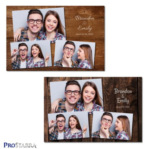 Simple rustic wood grain photobooth template layout designs.