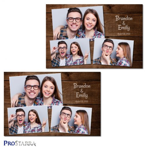 Brown plank rustic wood photo booth template layout design.