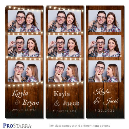 2x6 inch rustic photo booth photostrip template made of wood and strings of outdoor party lights.