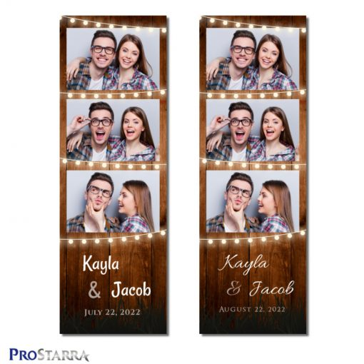 Fun, rustic 2x6 inch photo booth photostrip template with woodgrain and strings of warm, glowing outdoor party lights.