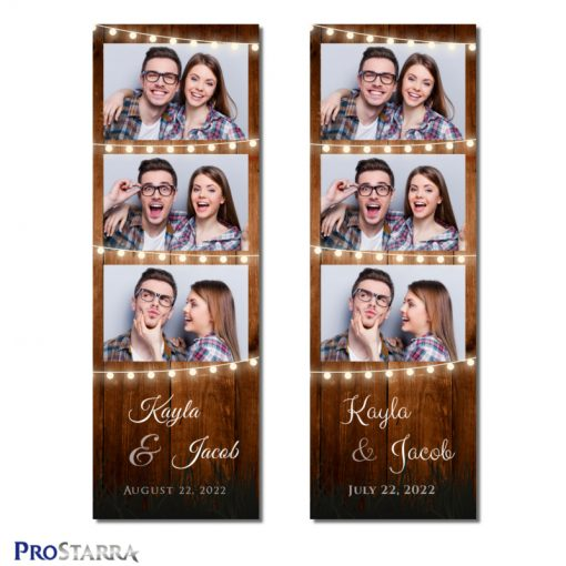 Rustic 2x6 inch photo booth photostrip template with vintage wood and romantic strings of outdoor party lights.