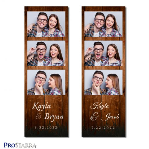 Vintage, rustic 2x6 inch photo booth photo strip template with rough, brown wooden planks.