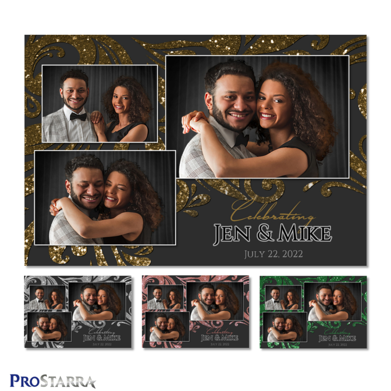 Black and gold wedding photo booth 4x6 template with glitter in swirl pattern.