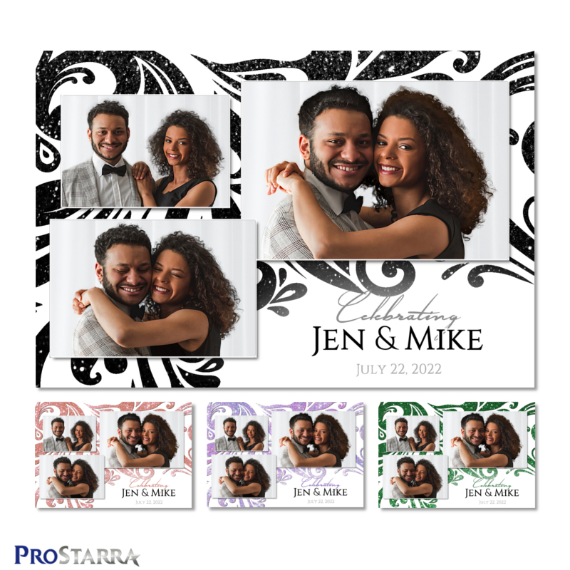 Black glitter swirling pattern on a wedding photo booth 4x6 template design.