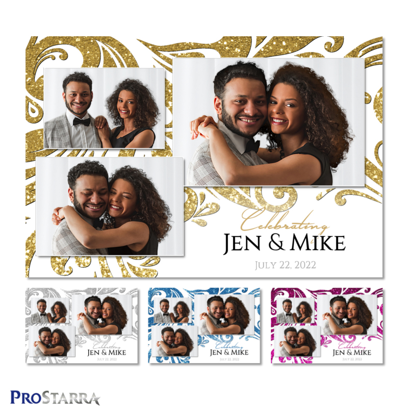 White and gold elegant wedding photo booth 4x6 template with glitter swirling pattern.