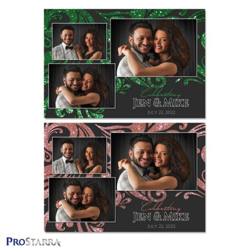 Black wedding photo booth template layouts with sparkling swirls in green and pink.