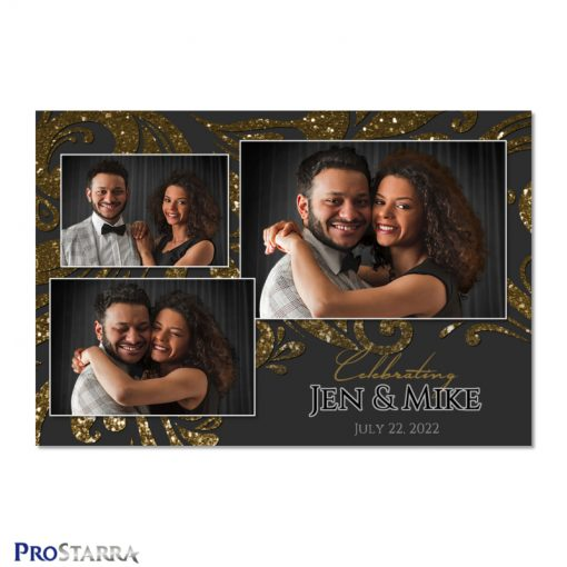 Black and gold wedding photo booth template layout with sparkling swirls and glitter.