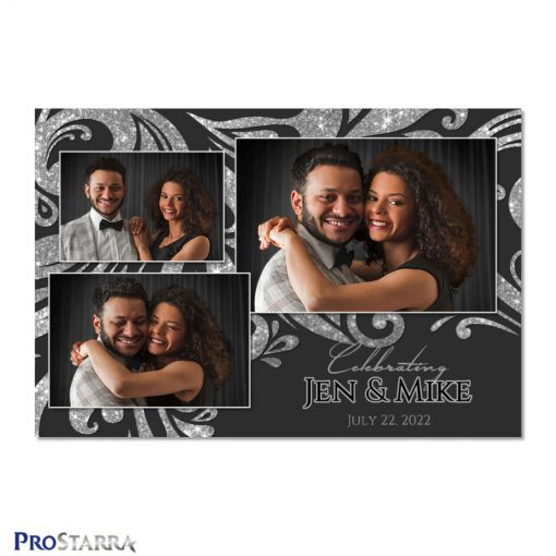 Black and silver wedding photo booth template design with sparkling swirls.