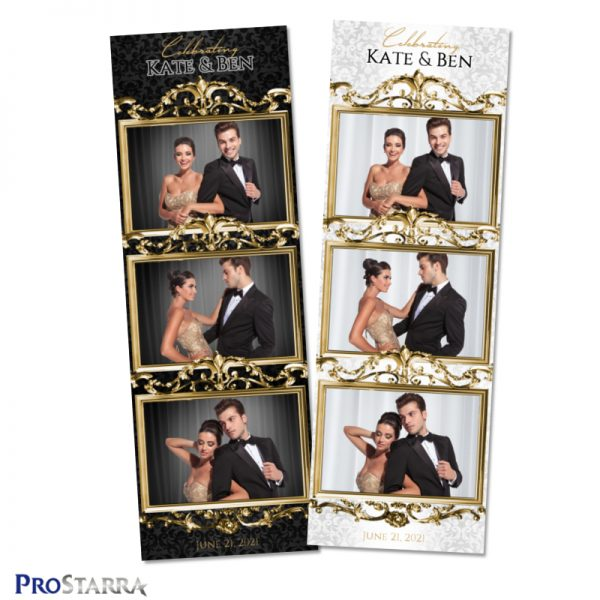 Luxurious gold black and white photo booth strip template with chic and elegant touches..
