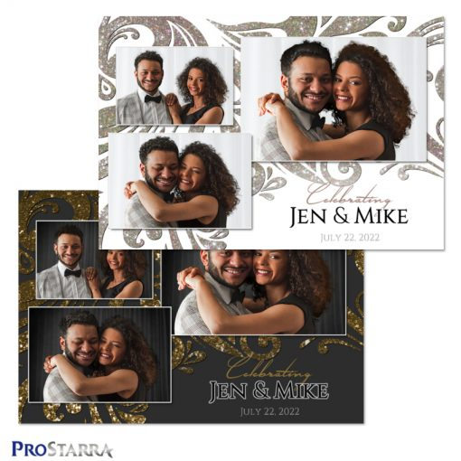Both white and black wedding photo booth templates with sparkling swirls in silver and gold.