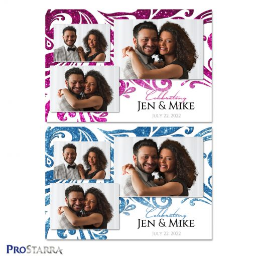 Elegant white, pink, and blue wedding photo booth template design with glitter and sparkling swirls.