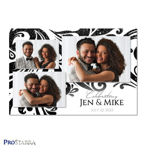 Elegant black and white wedding photo booth template layout with glitter and sparkling swirls.