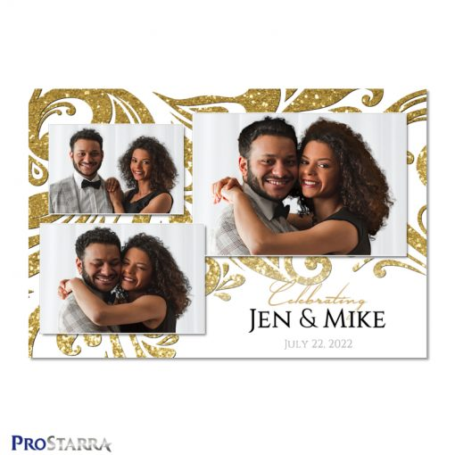 Elegant white and gold wedding photo booth template design with glitter and sparkling swirls.