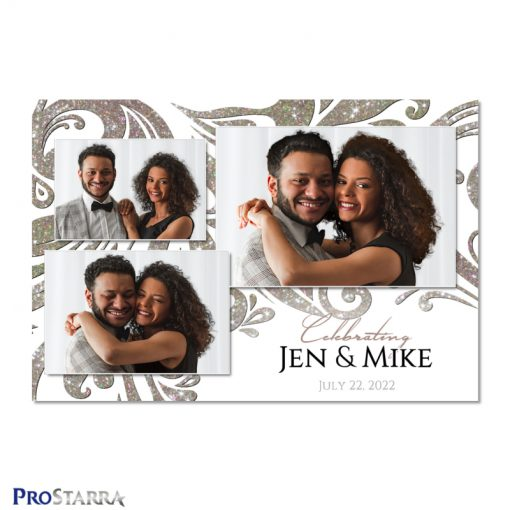 Elegant white and ivory wedding photo booth template layout with diamond and crystal like sparkling swirls.