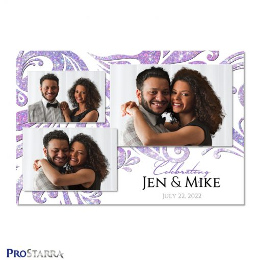 Elegant white and purple wedding photo booth template design with crystal and diamond like sparkling swirls.