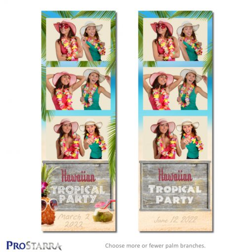Tropical island Hawaiian beach party photo booth strip with sand, palm trees, pineapple, and coconut drink.
