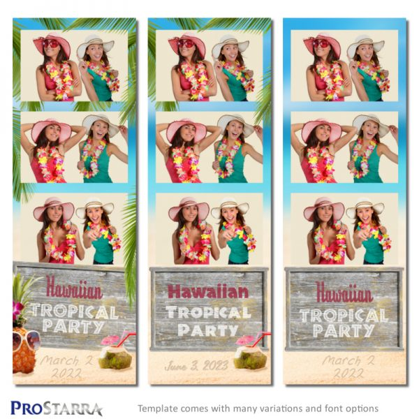 Tropical Hawaiian luau themed photo booth strip template layout for parties and events.