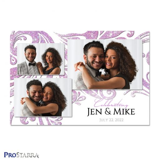 Elegant white wedding photo booth template with sparkling pink diamonds.