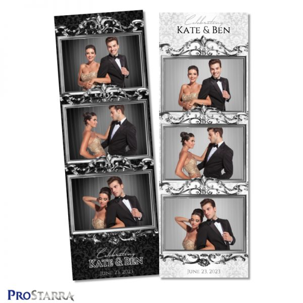 Elegant, chic, classy photo booth photo strip design for weddings with a silver frame layout on a white and black classic French pattern.