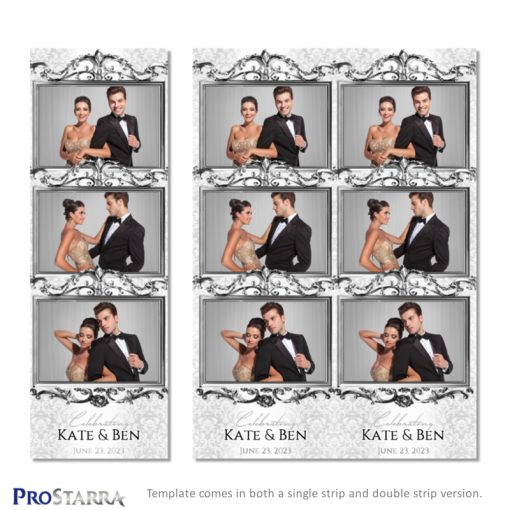 Single and double photo booth strip template with fancy, ornate silver frames.
