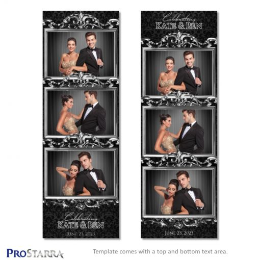 Black formal photobooth layout template with ornate, chic silver frames.