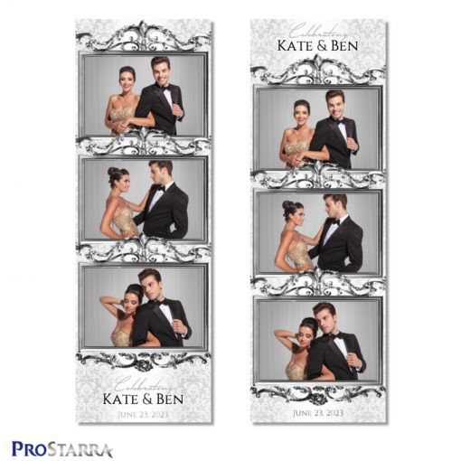 Classy, over-the-top elegant phot booth strip layout template dripping with ornate silver.