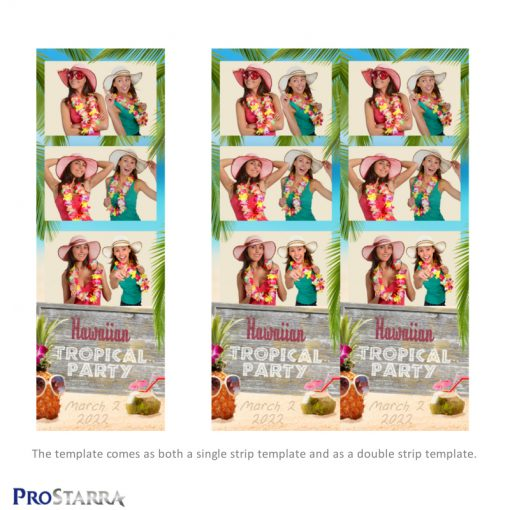 Single and double photo booth strip template with a tropical island, hawaiian luau beach theme.